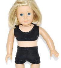 "SHINY BLACK SPORTS BRA & SHORT SET - Dance/Cheer - Fits 18"" American Girl Dolls"