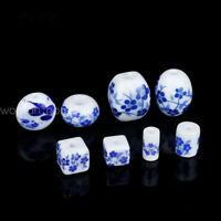 10PCS Ceramic Round Oval Square White+Blue Loose Porcelain Beads DIY Accessories