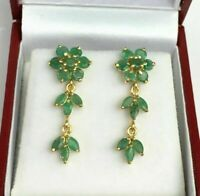 3.00 Ct Round Cut Emerald 14k Solid Yellow Gold Fn Cluster Dangle Stud Earrings