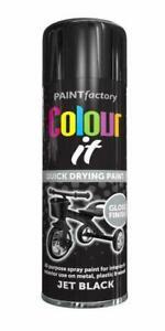 Multi-Purpose Jet Black Gloss Finish INTERIOR EXTERIOR Can Spray Paint 250ML