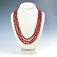 """Sparkling Faceted Ruby Red Crystals Bead Knotted 72"""" Long Strand Wrap Necklace"""