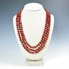 "Sparkling Faceted Ruby Red Crystals Bead Knotted 72"" Long Strand Wrap Necklace"