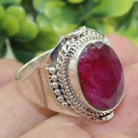 Ruby Corundum Gemstone Ring 925 Sterling Silver Handmade Jewelry