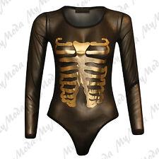 Ladies Women's Halloween Fancy Dress Mesh Gold Skeleton Bone Bodysuit Leotard