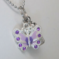 BUTTERFLY CREMATION URN NECKLACE PURPLE CREMATION JEWELRY MEMORIAL URN CYLINDER