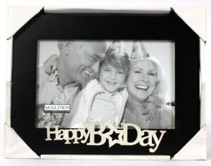 "Malden International Designs Happy B Day 4"" X 6"" Black & Silver Picture Frame"
