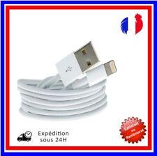 CABLE POUR IPHONE X 8 7 6 5 SE PLUS IPAD CHARGER USB RENFORCÉ BLANC  1M