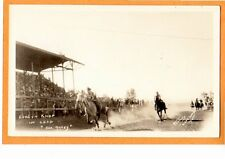 Hartley Real Photo Postcard RPPC Cowgirl Evelyn Knop in Horse Race Deer Lodge MT