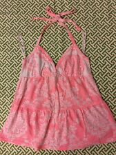 Roxy Surf Pink Floral Print Halter Top Sz S Bead Detail NWOT