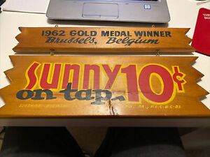 Vintage 1960s Sunny Beer Sunshine Brewing Co Reading PA Advertising Wood Sign