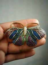 Pretty signed Joan Rivers  swarovski  crystal butterfly gold tone pin brooch