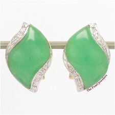 14k Yellow Solid Gold Omega Clip, Diamond & S Cabochon Green Jade Earrings TPJ
