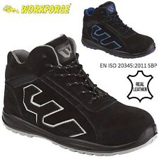 MENS LEATHER LIGHTWEIGHT STEEL TOE CAP SAFETY WORK BOOTS BLACK TRAINERS SHOES SZ