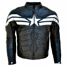 NEW Captain America Winter Soldier Biker 100%Cow Leather Armor Protection Jacket