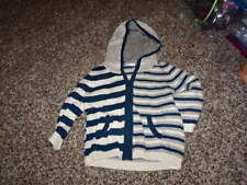 UNITED COLORS OF BENETTON BABY 74 9-12 BLUE GRAY STRIPED SWEATER HOODED