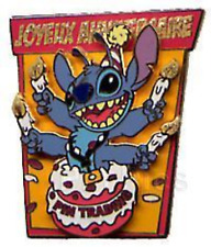 Disney Pin 41713 DLRP Paris 4th Anniversary Stitch Jumping Out of a Cake LE 1200