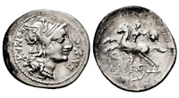 Republica Romana-Sergia. Denario. 116-115 a.C. Norte de Italia. Plata 3,9 g.