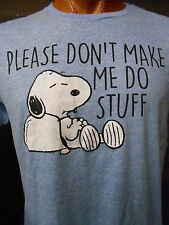 Mens Licensed Peanuts Snoopy Please Don't Make Me Do Stuff Shirt New L