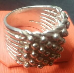 Hallmarked Mens 925 Sterling Silver Keeper Ring - 7 Row (Size V 1/2) Not Scrap