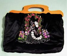 Vintage 1930s CRINOLINE LADY Embroidery Tote Knitting Bag Handbag Black Purse