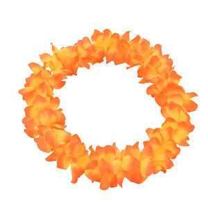 Hawaiian Lei Garland Flower Necklace Ladies Mens Tropical Fancy Dress Party FH