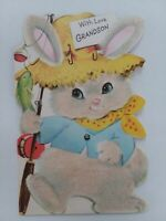 Vtg GRANDSON Fuzzy Glitter EASTER BUNNY w FISH & Pole Norcross GREETING CARD
