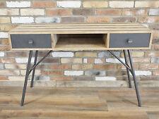Industrial Metal Desk 2 Drawer Retro Wooden Storage Computer Office Bedroom New