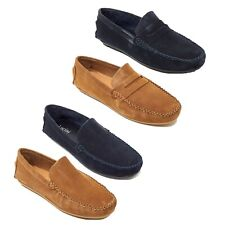 Lucini Mens Loafers Suede Summer Shoes Driving Casual Slip on Moccasin Slippers