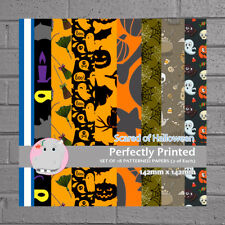 18 Patterned Paper Sq 140mm -Perfectly Printed Craft Paper - Scared of Halloween