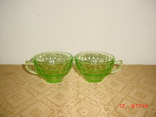 """2-PIECE FEDERAL GLASS DEPRESSION GLASS """"GREEN"""" COFFEE CUPS/STAMPED/CLEARANCE!"""