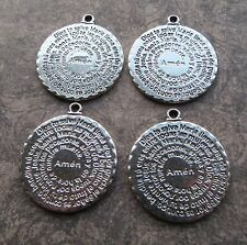 Lot of 4 Antique Silver Religious Catholic Lord Prayer Flat Disc Pendants 36mm
