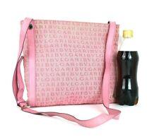 Auth BVLGARI Logo Mania Pink Jacquard & Leather Cross-Body Shoulder Bag