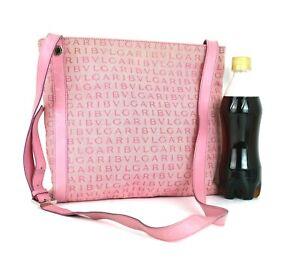 BVLGARI Logo Mania Pink Jacquard & Leather Cross-Body Shoulder Bag Purse Used