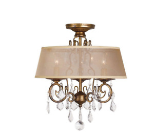 15 in. 3- Light Antique Gold Flush Mount Chandelier by World Imports