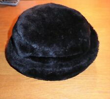 Black fur winter Cloche hat, Scottish Bonnets, SMALL exc quality and condition
