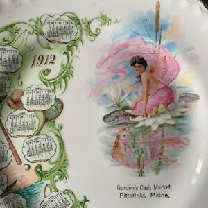 Vintage 1912 GARDEN FAIRY Advertising Calendar Souvenir Plate PITTSFIELD Maine