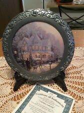 Thomas Kinkade A Holiday Gathering 1 St Issue 25 Th Anniversary Pewter Plate