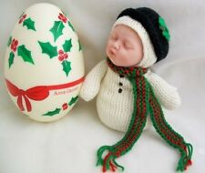 New Anne Geddes Snowbaby Snowman Doll in Egg Rare
