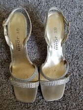 St John Collection muted Gold Satin Crystal Heel Women's Size 8B