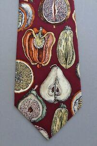 """Rare Vtg Fornasetti Milano """"Sezioni di Frutta"""" Collection Silk Tie in Maroon"""