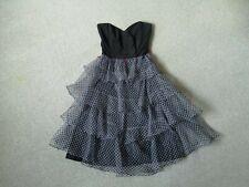 80s Vintage Strapless Dress Black Blue Midi Ra Ra Ruffles UK S 8 Algo Ettes