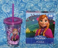 New Disney Frozen Anna Kids Gift Lot Acrylic Tumbler and Puzzle