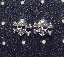 Sterling Silver Skull & Crossbones Post / Stud Earrings 1 Pair. Free Ship in USA