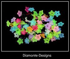 100 Pcs - 10mm Acrylic Bead Caps Mixed Colour Flower Design Craft E123