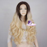 """24 """" Long Brown Mixed Light Blonde Curly Synthetic Cosplay Lace Front Party Wig"""