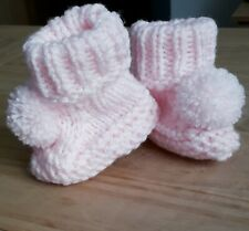Hand made  Knitted Baby pom pom booties Pink
