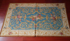 3' X 5' Vtg. Needlepoint Rug So Stunning Beautiful Classic Blue Aubusson Design