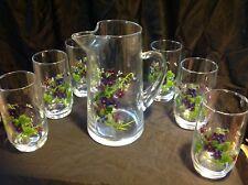 Vintage Avon Wild Flowers Pitcher + 6 Glasses Tumblers Set Signed J. Walsh New