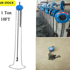 Chain Block Tackle Hoist Garage Car Engine Heavy Load Lifting Tool Winch 1 Ton