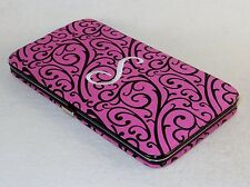 """Ladies Monogram Metal Frame Clutch Wallet, Nylon Shell, Embroidered w/Letter """"S"""""""